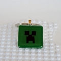 MINECRAFTING - a Creeper inspired bag tag from Minecraft handmade in green resin