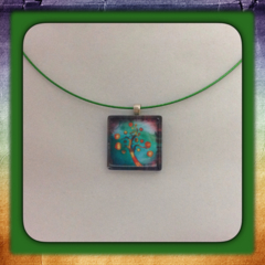Glass Tile Necklace - Orange Tree