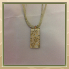 Glass Tile Necklace - Green and Gold Garden