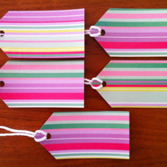 Candy Striped Gift Tags x 5