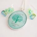Friendship Quote jewellery set, pendant and earrings, teal