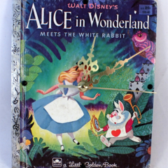 Alice In Wonderland - upcycled clock, Little Golden Book, white rabbit