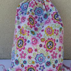 Cord Drawstring Swim bag/ library bag, PUL, Waterproof, peace/floral pattern.