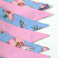May Gibbs Gumnut Babies Fabric Bunting Australiana(Pink, Periwinkle Blue)