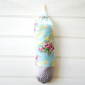 Plastic Bag Holder - Floral Yellow and Pink on Blue - PBH082