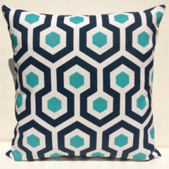 Outdoor Cushion Cover -Navy Blue & Aqua Geometric -  Free Shipping