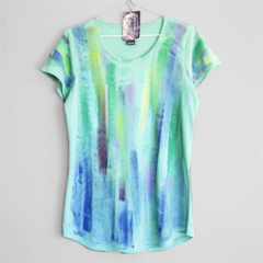 NORTHERN LIGHTS. T shirt for woman or girl. Hand printed tees. Womens Top
