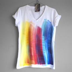COLOUR STREAKS. RAINBOW 100% cotton T shirt. Hand painted. V neck t shirt