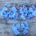 "3.5"" Frozen Bow Hair Ties & Bow Hair Clip Set- Princess Elsa"