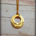 Personalised Hand Stamped Gold Double Family Pendant