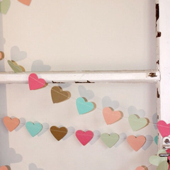 Paper Heart Garland. Gelato. Mint, Brown Sugar, Strawberry, Apricot and Sea Blue