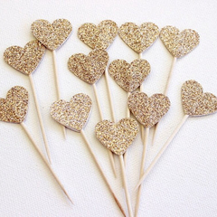 Cupcake Toppers. Gold Glitter Hearts. Pack of Twelve. Wedding - Engagement.
