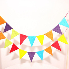 Cake Bunting/Cake Topper/Cake Banner/Flags. Rainbow. Bright Colours.