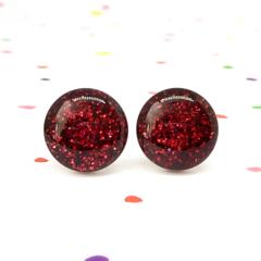 Garnet red glitter resin sparkle studs - Surgical steel posts