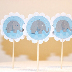 Elephant Cupcake Pokes/Cupcake Toppers. Baby Blue. Pack of Twelve. Baby Shower -