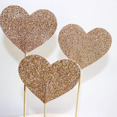 Large Glitter Love Heart Cake Pokes/Cake Toppers. Set of 3. Gold Glitter.