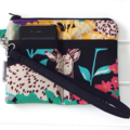Wristlet Pouch Purse in Colourful Safari Echino Fabric Design Handmade