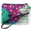 Wristlet Pouch Purse in Colourful Safari Echino Fabric Design Handmade