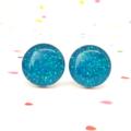 Aqua blue glitter resin sparkle studs - Surgical steel posts