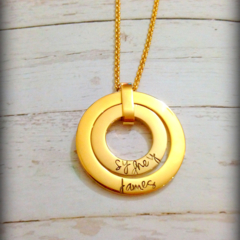 Gold Personalised Hand Stamped Double Family Circle Pendant