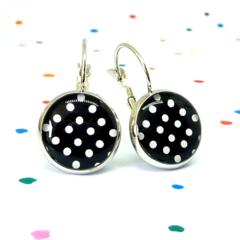 Leverback earrings - Polka dots on black - Resin