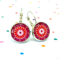 Leverback earrings - Fuschia pink and red flowers - Vintage patterns in resin
