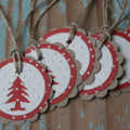 6 Handmade Christmas Tree Gift Tags ~ Swing Tags ~ Favour Tags ~ Ready to Post
