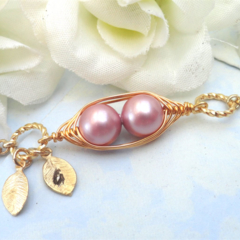 Sweet 2 Peas In A Pod Gold Bracelet  Swarovski Pearls Choose Your Colour