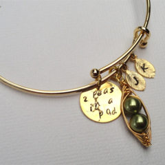 Bangle Bracelet With Pea pod Hand Stamped Disc And Initials Friendship Bracelet