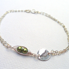 Two Peas In A Pod Sterling Silver Bracelet Hand Stamped Bracelet