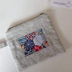 linen cotton hexagon zipper pouch teachers gift