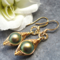 Wire Wrapped Gold Peapod Earrings - Swarovski Green Pearls Or  Choose The Colour