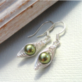 Green Pea In A Pod Silver Earrings