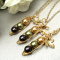 Set of 3 Three Peas In A Pod Necklaces - BFF, Best Friends, Bridesmaids