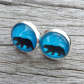Glass dome stud earrings - Polar Bear on blue