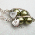 Best Friends or Twins Peas in a Pod with Personalized Heart Silver  Necklaces
