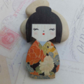 Terracotta Japanese Doll Brooch