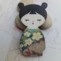 Olive Green & Blue Japanese Doll Brooch