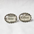 Anne of Green Gables Earring Studs. Text Book Literature Words