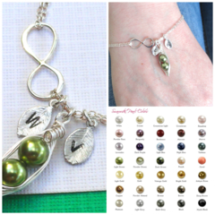 Personalized Sterling Silver Infinity Two Peas In A Pod Bracelet