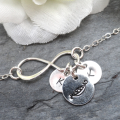 Personalized Pea pod Infinity Bracelet Friendship Bracelet Initial Bracelet