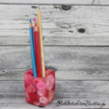 Button Pot - Resin & Buttons - PINK Pencil, paperclip, toothpick holder, vase
