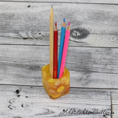 Button Pot - Resin & Buttons - YELLOW Pencil, paperclip, toothpick holder, vase