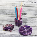 Button Pot - Resin & Buttons - PURPLE Pencil, paperclip, toothpick holder, vase