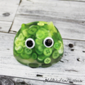 Cute Lime Green Button Owl - Paperweight / Ornament - Solid Button Filled Resin