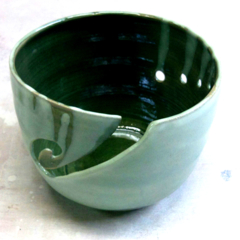 CUSTOM LISTING FOR CARRIE-ANNE: Two Ceramic Yarn Bowls Green and Dark Blue