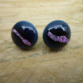 Burst of Colour Navy with Lavender Crackle Fused Glass Earrings
