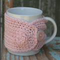 SALE Winter Warmer ~ Pink Cotton Mug Cosy ~ Ready to post ~ Mother's Day