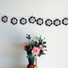 Watermelon Flower Acrylic Crochet Garland Bunting Decoration