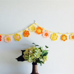Yellow Lemon Orange Flower Acrylic Crochet Garland Bunting Decoration